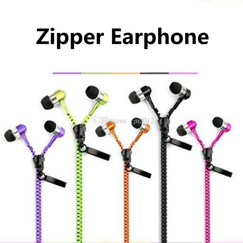 Zipper Earphones Headset 3.5mm Baixo auriculares In-Ear Zip fone Headphone com MIC para Samsung S6 Android Phone mp