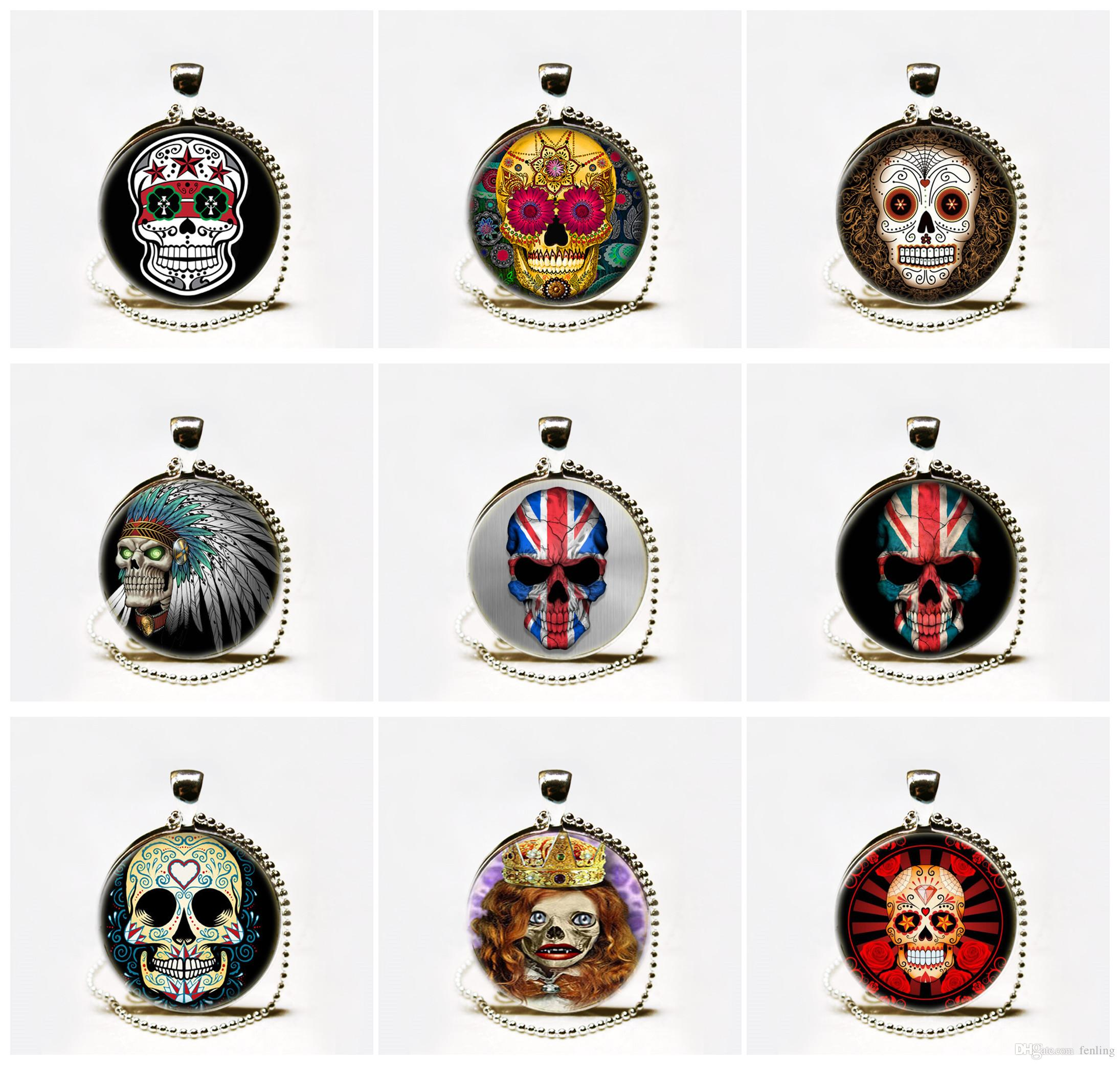 skull flower los large img muertos sugar dia necklace pendant products cameo de