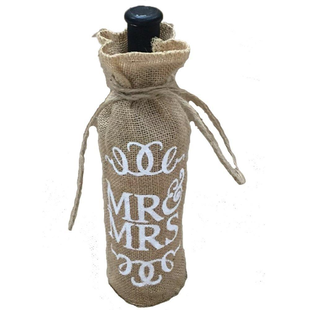 All'ingrosso- Mr Mrs Jute Burlap Wine Bottle Cover Sacchetto regalo di nozze Decorazione del partito di Natale AA8008