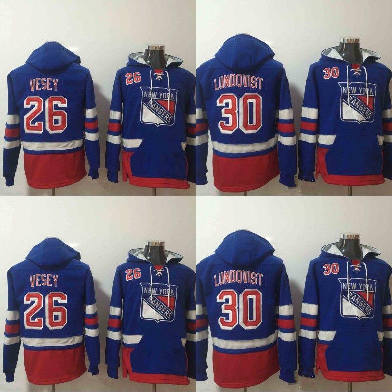 on sale 48be2 772c7 Mens New York Rangers Hoodies Hockey Jersey 26 Jimmy Vesey 30 Henrik  Lundqvist Sweatshirts Winter Jacket Free Shipping