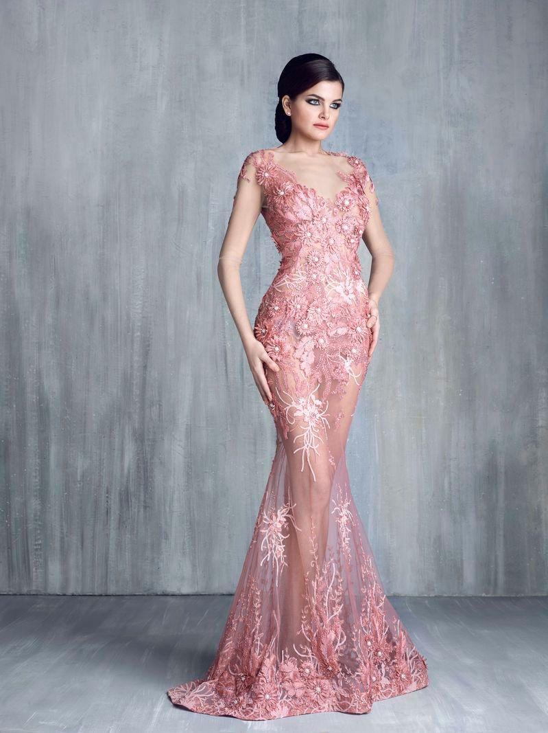 Sexy Nude Pink Mermaid Abendkleid Jewel Neck Sheer Langarm Appliques Mit Blumen Abendkleid Nach Maß Lange Celebrity Dress