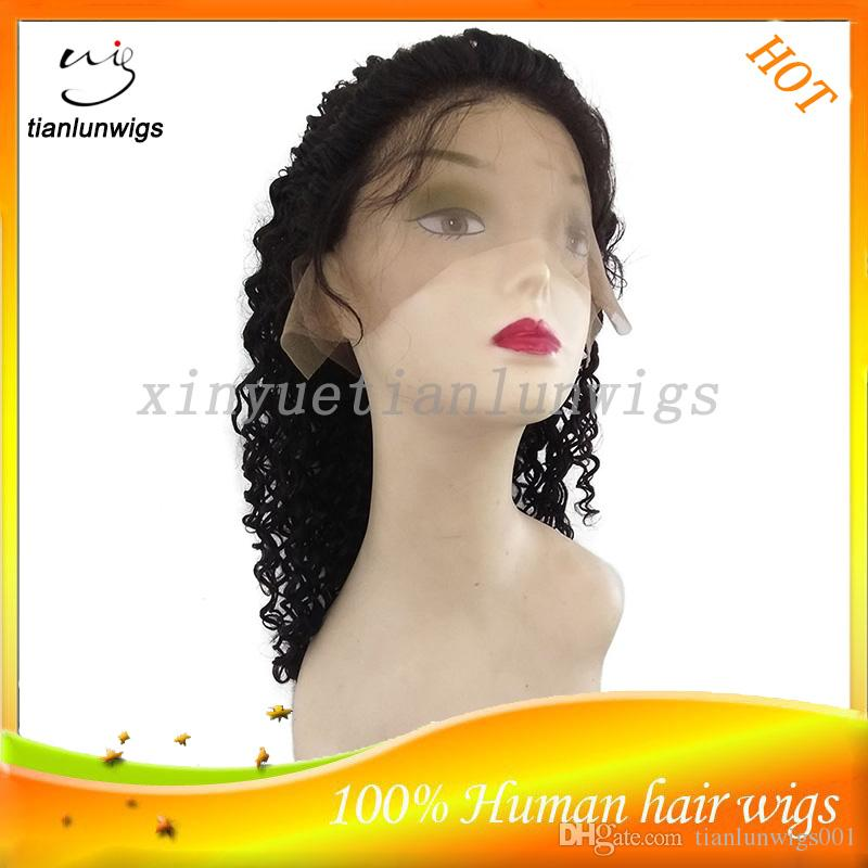 qingdao factory wholesale natural color Natural hairline 7A Remy virgin Human Hair Kinky Curly Afro Curl Full Lace Wigs lace front wig