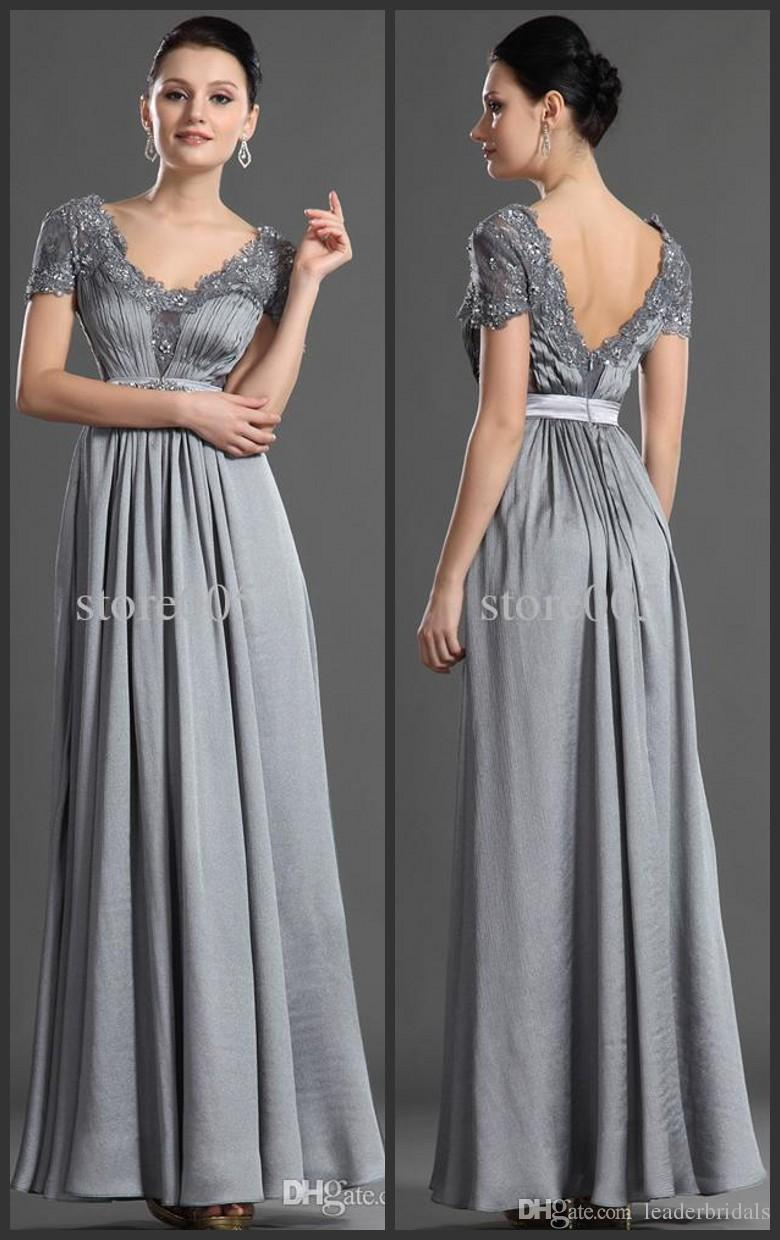 2018 New Empire Waist Mother of the Bride Dresses Ruched V-Neck Full Length Cap Sleeve Silver Gray Chiffon Dress J166502