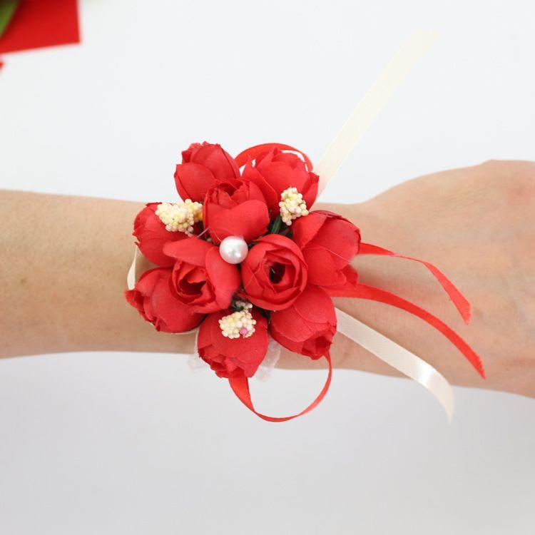 Hochzeitsbevorzugungen Hochzeitsdekorationen Hochzeitsblumen Kunstblume Handgelenk Corsage Brautjungfer Handgelenk Blume Schwestern Blume
