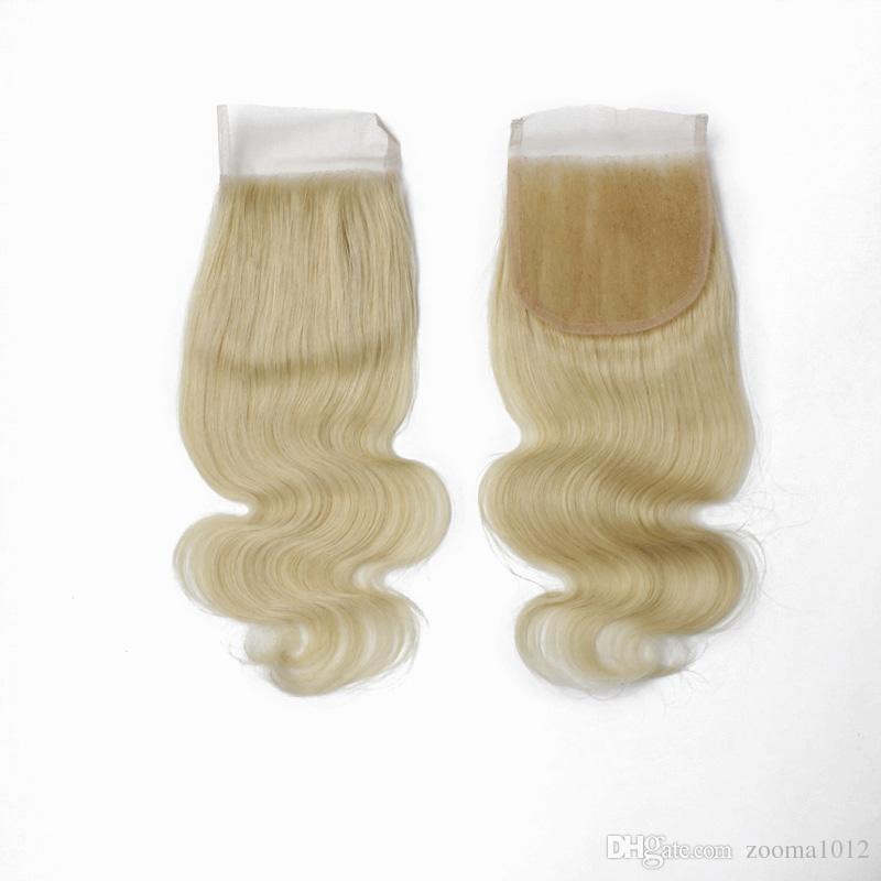 Remy diritto superiore chiusura dell'onda del corpo chiusure dei capelli umani parte libera 4x4 brasiliana dei capelli del virgin chiusura di pizzo pezzo # 613 nodi candeggiati