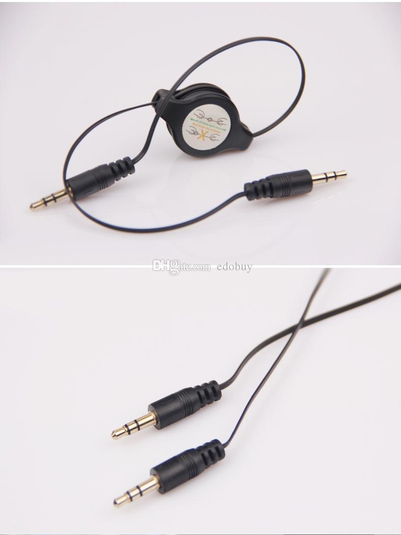 Jack 3.5mm Male to Male Stereo Audio Cable Retractable Aux Auxiliary Cord for iPhone 6 plus Samsung Galaxy Mobile phone MP3