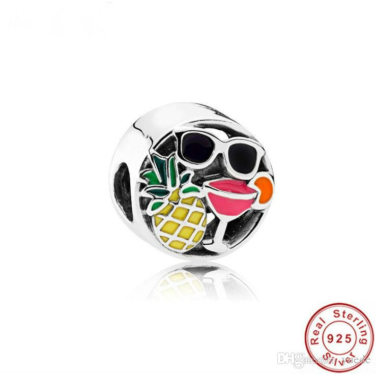 2017 Promoção Authentic 925 Sterling silver abacaxi Beads Fit Pandora Original pulseira diy Cheio de diamantes coração branco CZ pulseira de Jóias