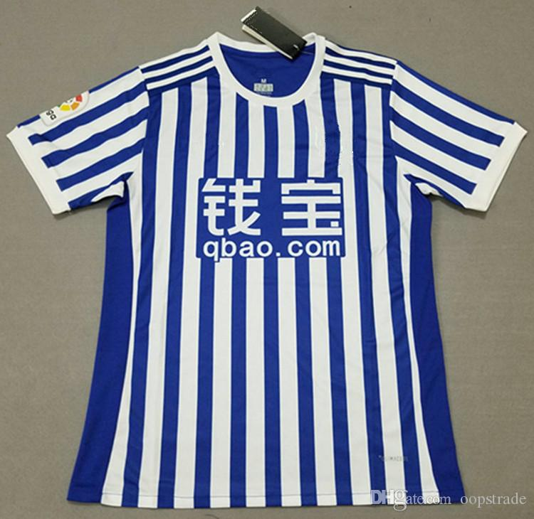 Thai Quality Soccer Jerseys FC Real Sociedad Home Shirt 2017 2018 Mens Cheap  Football Club Set Customized Name Number UK 2019 From Oopstrade b896abc46