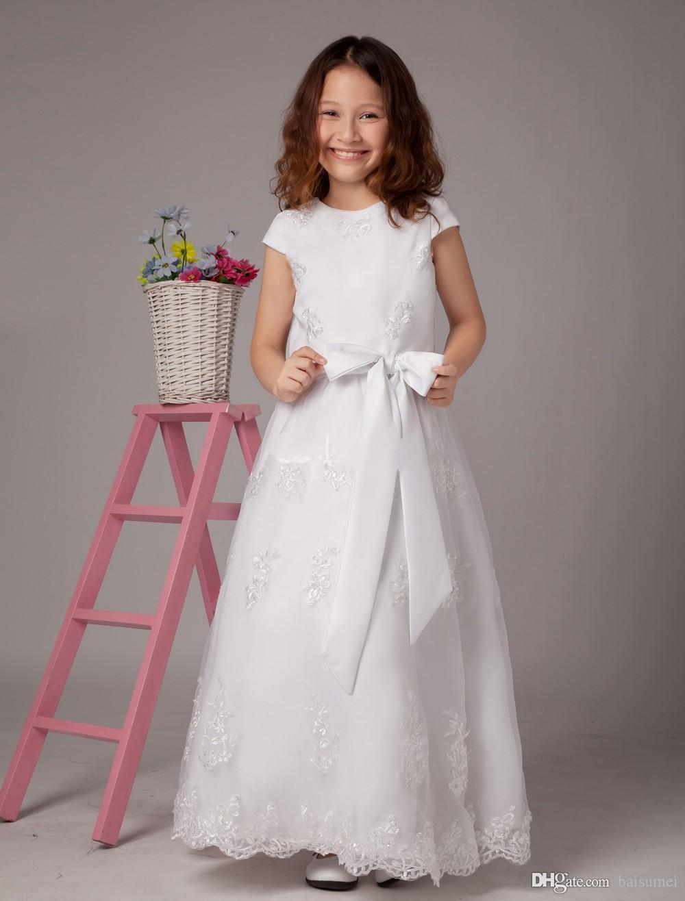 Lovely simple lace flower girl dresses applique bow ankle length lovely simple lace flower girl dresses applique bow ankle length organze girls pageant gown first communion dresses eggplant flower girl dresses flower girl ombrellifo Image collections