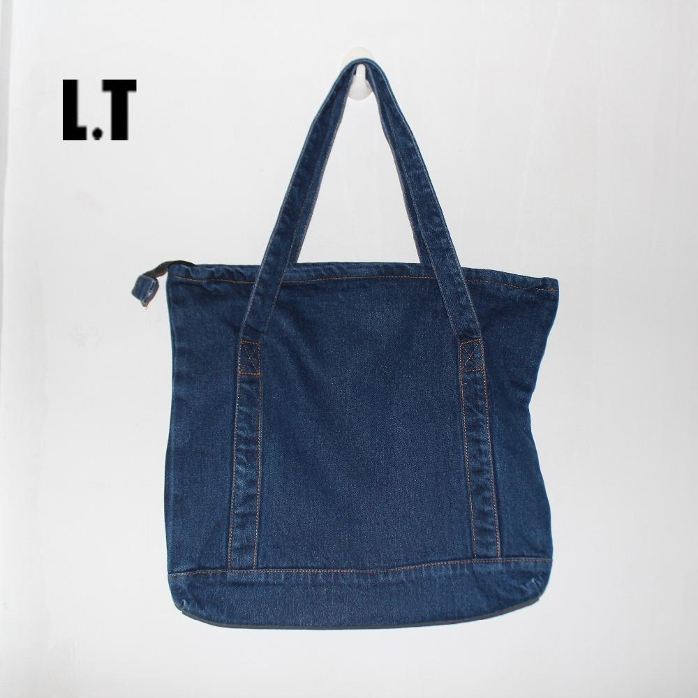 8a25c14e55 Wholesale 2016 Unisex Denim Tote Bag Casual Pastel Light Blue Fabric Jean  Top Handle Teenager Slouch Shopping Book Organizer Shoulder Bag Leather  Purse ...