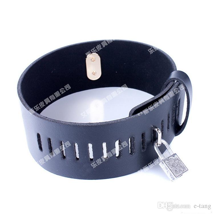 2017 New 6cm Height BDSM Sm Sex Toys Luxury Stainless Steel Heavy Duty Collar & Leather Thick Lron Locking Collar Mirror Polished Neck Ring