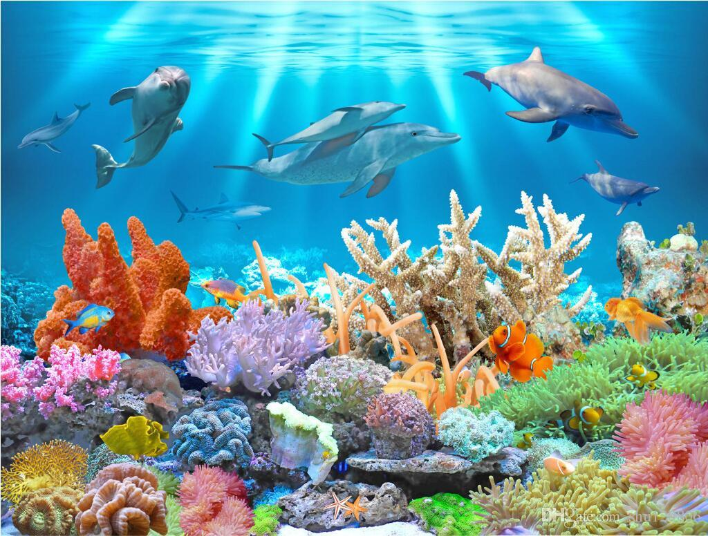 3d Wallpaper Custom Photo Mural Underwater Dolphin Coral
