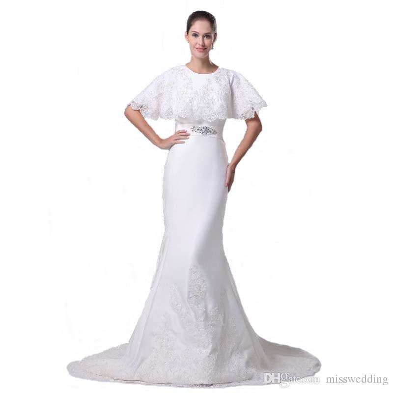 European American Style 2017 New Brand Designer Wedding Dress With Short Cape Royal Bridal Mermaid Gown Bride Ball Dresses