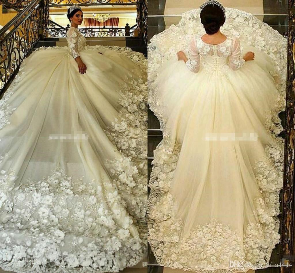 Gorgeous Long Sleeve Ball Gown Wedding Dresses Long Train Sheer Crew ...