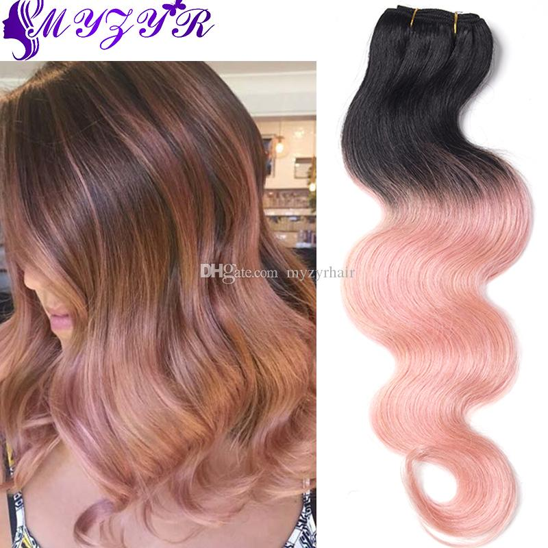 2018 two tone ombre rose gold brazilian human hair extensions 7a see larger image pmusecretfo Choice Image