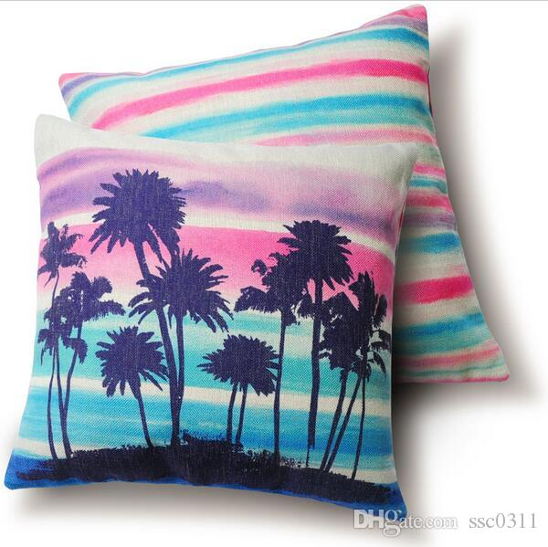 Double Sided Home Pillow Cushions, Color Palm Tree, Hawaii Style Pillow  Cover, Cushion Cover,Decorative Pillows,Throw Pillows Outdoor Chair Cushions  ...