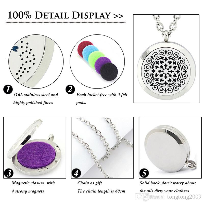 Free with Chain and Pads! High Quality Silver Aromatherapy Necklace Magnetic 316L Stainless Steel Diffuser Locket Pendant Necklace