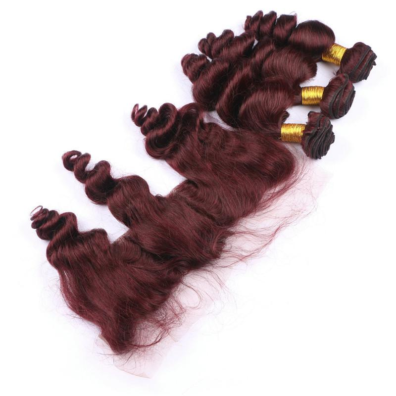 Virgin 99J Wine Red Human Hair 3Bundles With 13x4 Full Lace Frontal Closure Loose Wave Wavy Burgundy Human Hair Weaves With Frontal