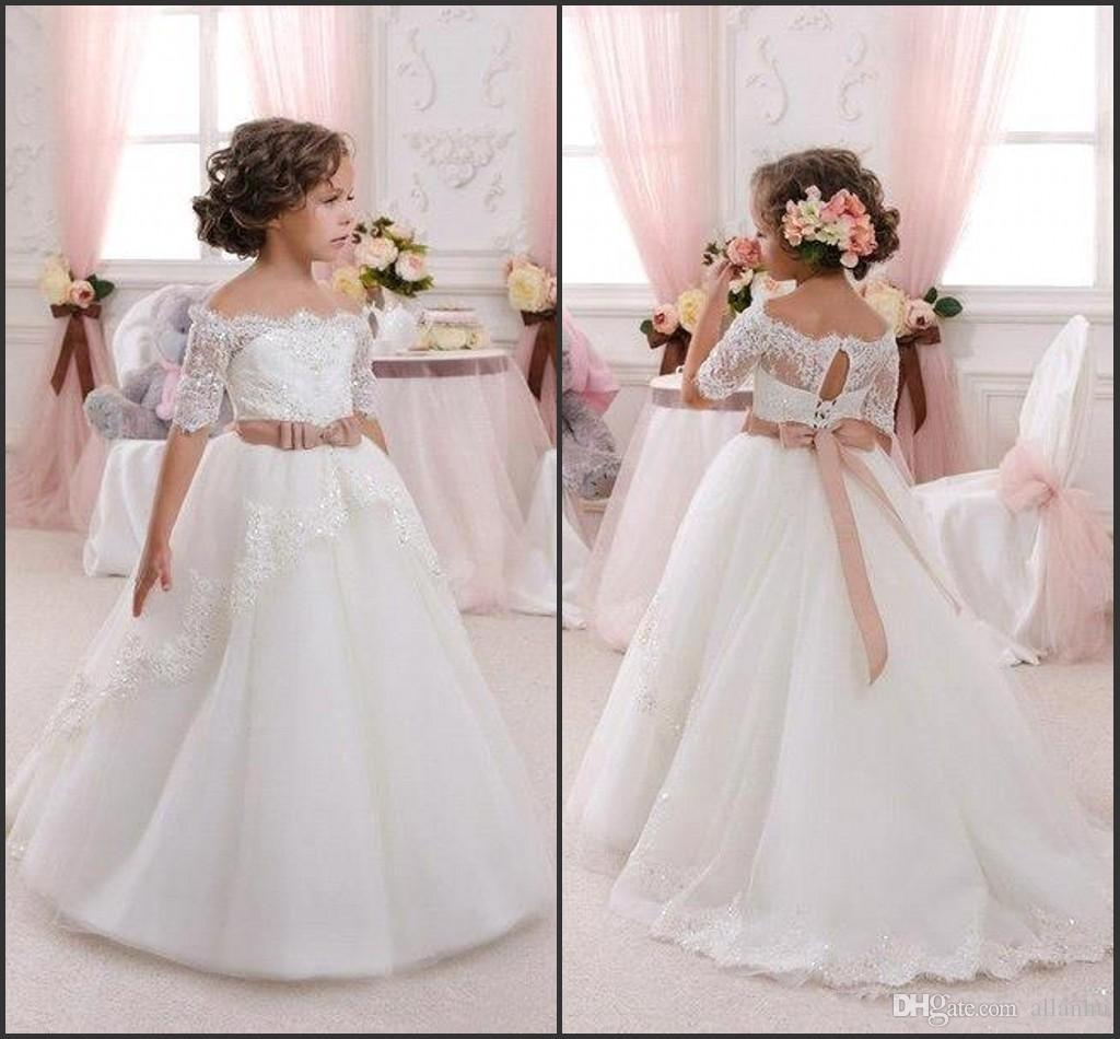 Lovely Cute Flower Girl Dresses for Wedding 2017 Off Shoulder Vintage Lace with Coral Bow Belt Princess Lace-Up Kids Communion Dresses