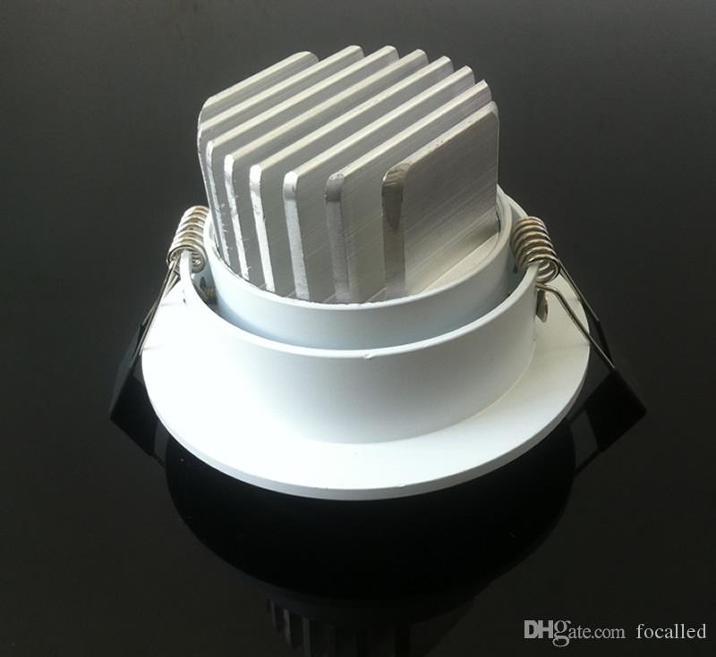 Dimmable LED Encastré Downlight 10W COB Puce LED Plafonnier Spot Lampe Blanc froid / Chaud AC90-260V ou 12v + Pilotes 120Angle