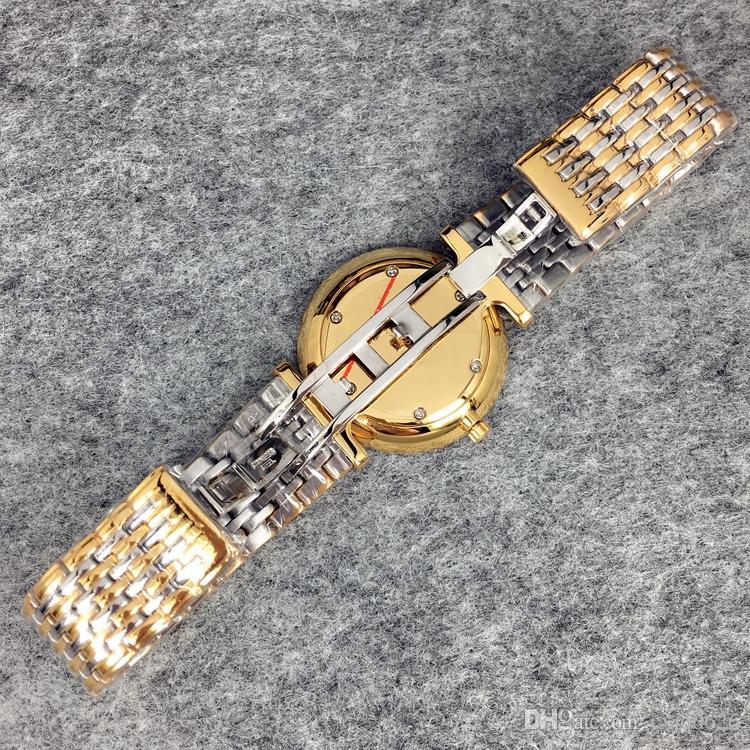High Qulity Women/Man Luxury Watch Gold/Silver color stainless Steel Quartz Sapphire glass Japan Movement Lover wristwatch lady Dress Watch