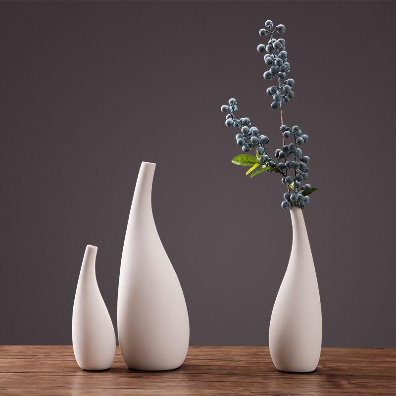 Vase en céramique de fleur de porcelaine blanche de rationaliser la vase en céramique moderne de taille pour le bureau