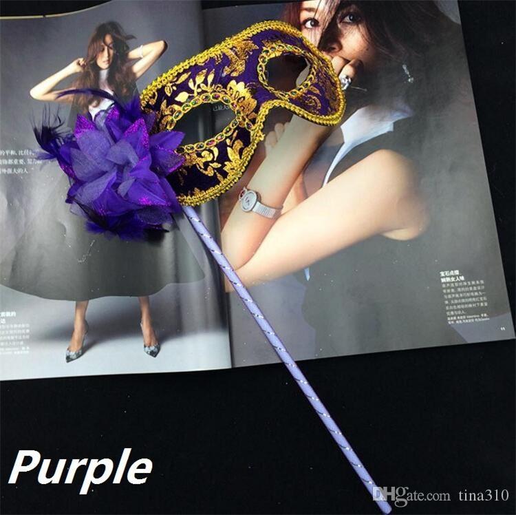 Nuovo veneziana mezza maschera viso fiore mascherina del partito sul bastone Maschera sexy di Halloween di Natale del partito danza nozze Mask I048