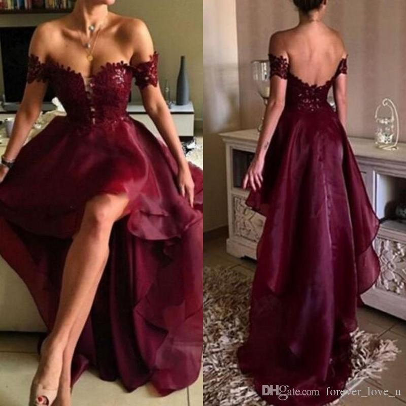 Stunning Burgundy High Low Prom Dress Off The Shoulder Lace ...