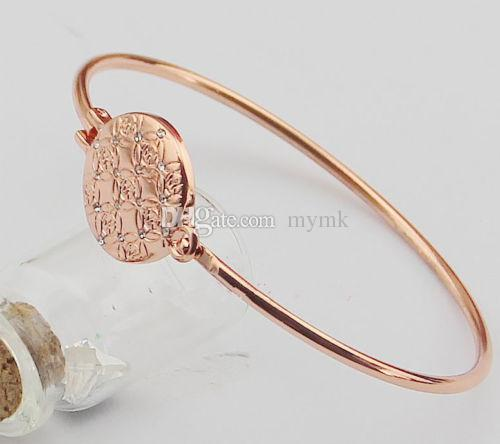 New York Fashion Brand peace logo Tone Bangles round charm Bracelets fashion jewelry for women silver/gold/rose gold colours