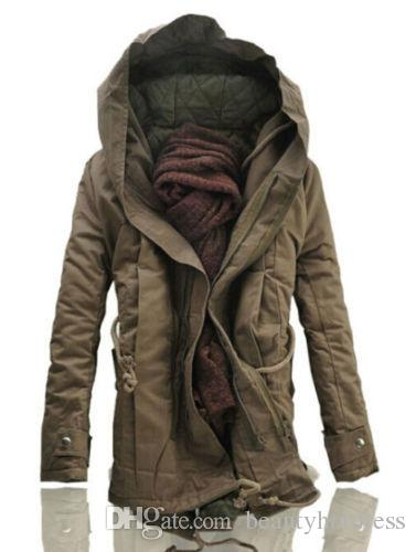 Fashion Casual Winter Mens Military Trench Coat Army Green Black ...