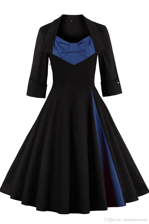 2017 Vintage Une Ligne Femmes Vêtements Automne Automne Noir Plue Taille Party Dress Manchette Manches Élégantes Rockabilly Soirée Robes De Soirée