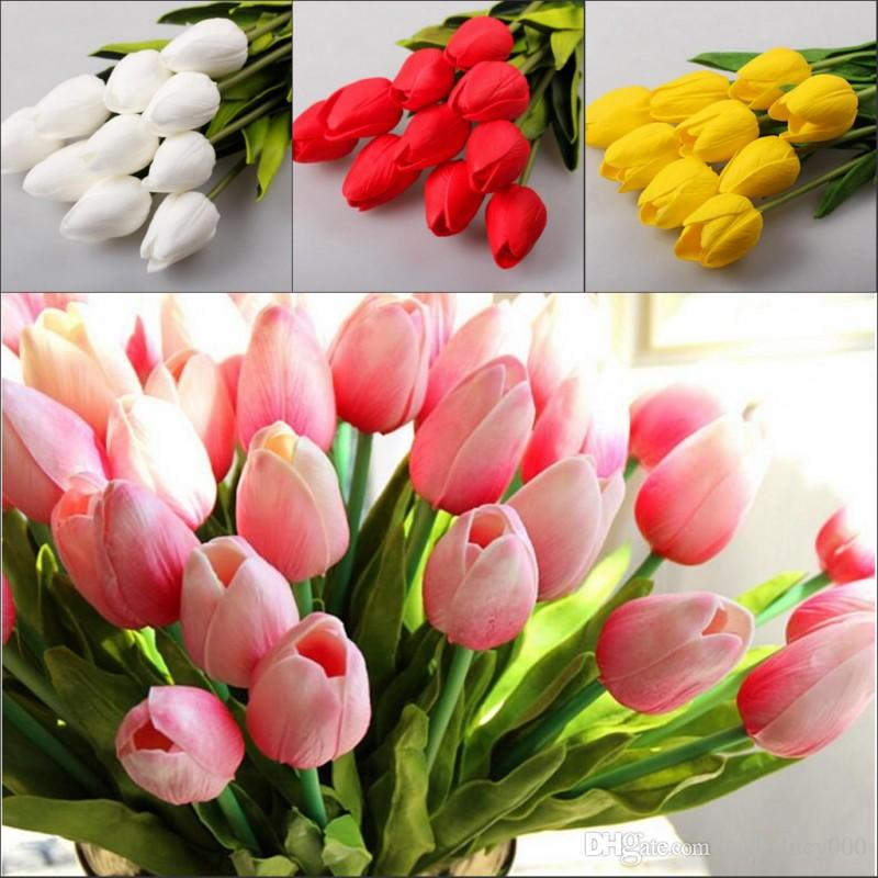 2019 Tulip Artificial Flowers Wholesale Real Touch PU Artificial Bouquet  Flowers For Home Gift Wedding Decorative Flower From Jackylucy000 336de9237f