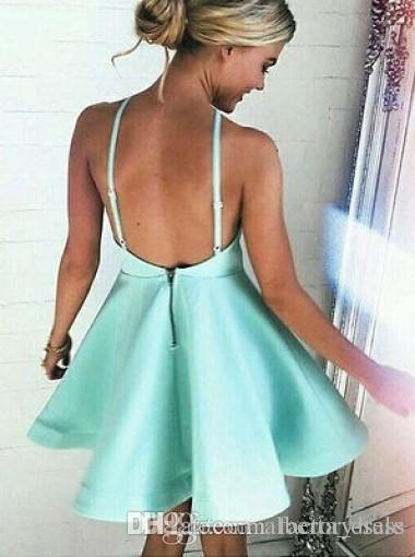 Hortelã Verde Júnior Mini Curto Homecoming Vestidos Sexy Sem Encosto Halter 2017 Vestidos de Cocktail Júnior de Formatura Prom Party Vestidos