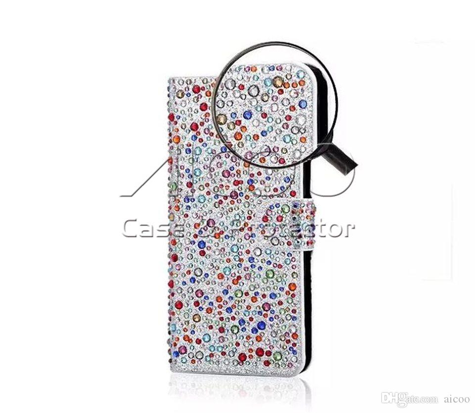 Luxury Full Inlay Diamond Raindrops Flip Cover Wallet Phone Cases For iphone 6 6S 7 plus Case With Holders Card Slot OPP BAG