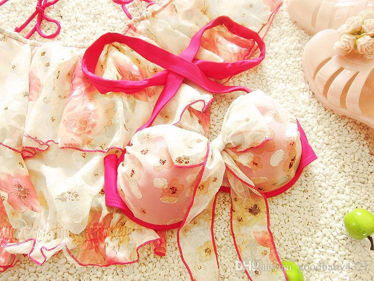 женщины купальники из трех частей обода бикини сексуальные купальники цветочные воланами пляж одежда костюм для молодой девушки леди мать дочь плавать наборы