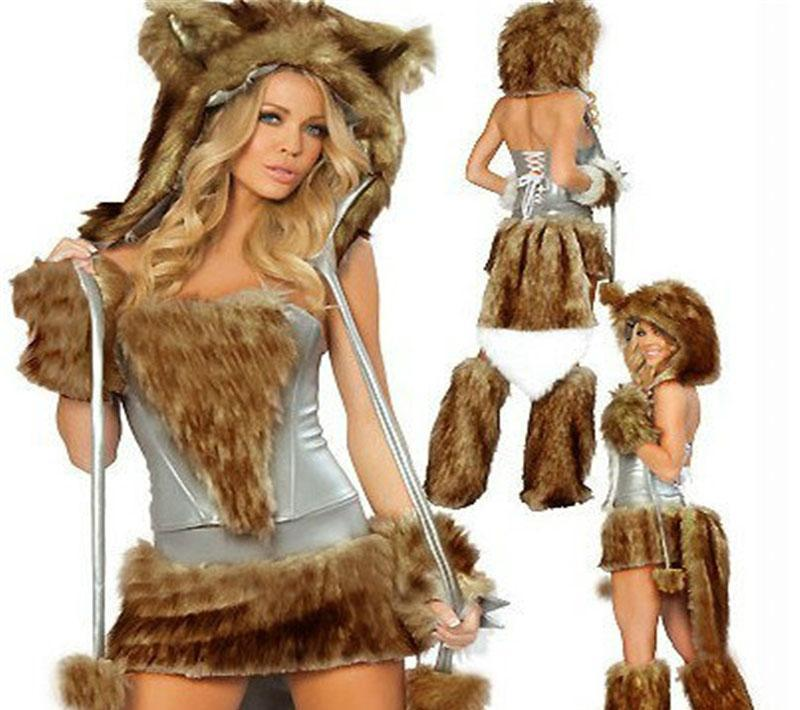 111cb937f Autumn Halloween Costumes Set Dresses For Women With Plush Sleeve ...