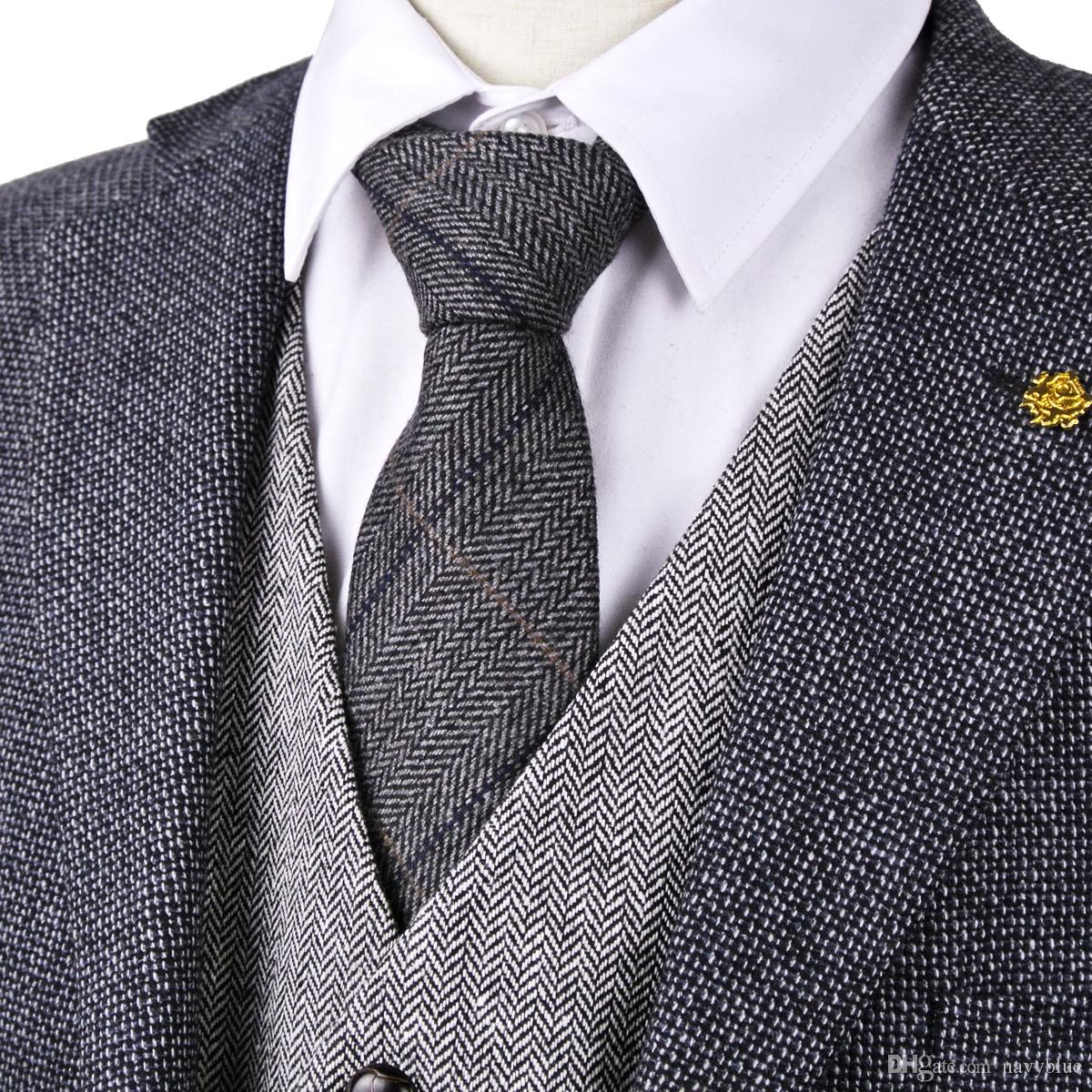 H38 Dark Gray Grey Black 2.76 Herringbone Tweed Wool Blend Mens Ties ...