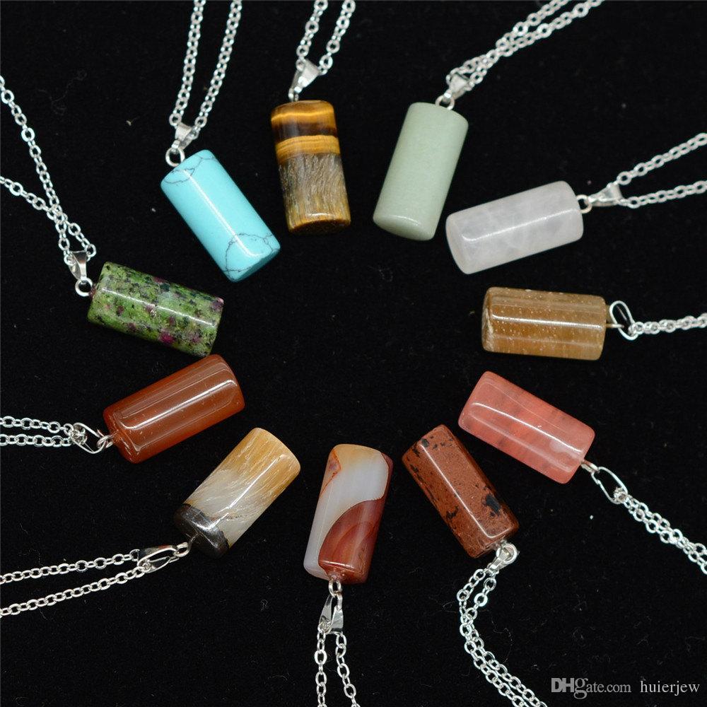Collar Joyas Barato Cristales de curación Amatista Rosa Cuarzo Grano Chakra Punto de curación Mujeres Hombres Colgantes de piedra natural Collares de cuero