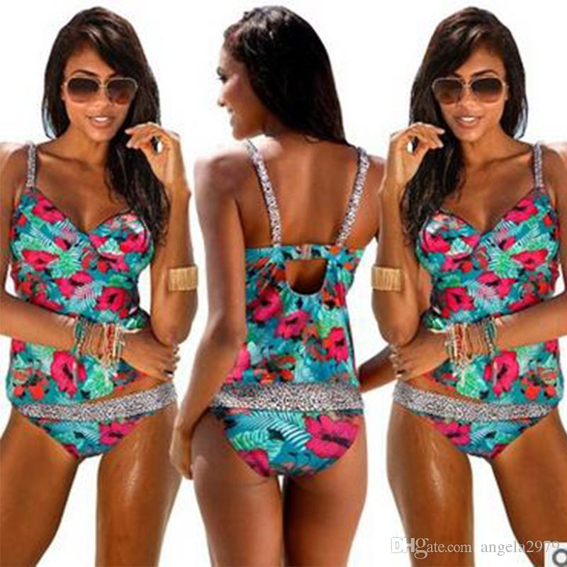 454701bffd1 2019 Women Flowers Print Swimwear Push Up Tankini Top Maillot De Bain Bathing  Suit Swimsuit Plus Size XXL Shorts Bikinis F5452 From Angela2979