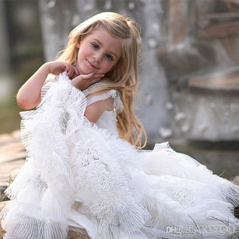 Concursos de beleza vestido para crianças vestidos de casamento 2019 praia até o chão babados meninas primeiro comunhão sagrada vestidos de casamento vestido de flor