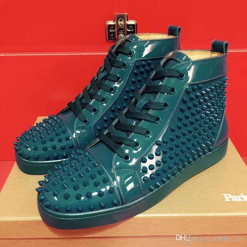 a8c29220e3a Acquista New Mens Gradient Green Pattern In Pelle Con Spuntoni Fashion High  Top Red Bottom Sneakers