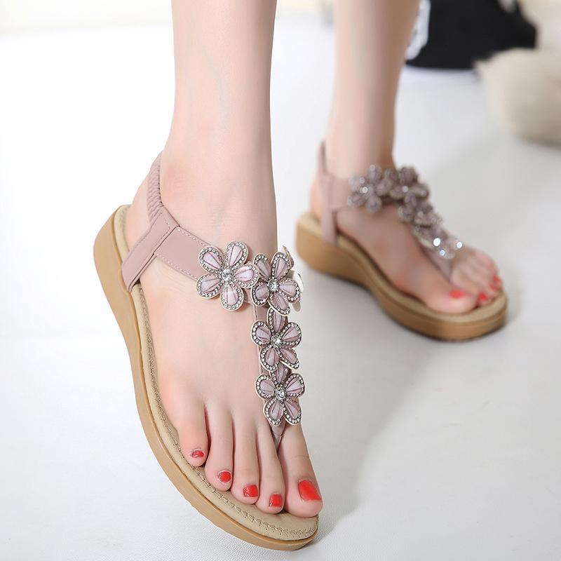 d6bb79d63e1af Women Sandals Flats Summer Shoes Women 2017 Summer Style Rhinestone ...