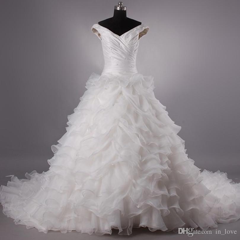 Актуальное изображение Оборки из органзы Свадебные платья с открытыми плечами и бисером Атласная многоуровневая юбка Свадебные платья с скользящим шлейфом нестандартного размера