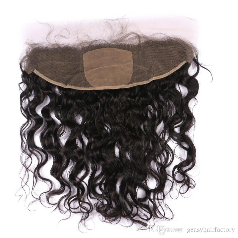 Virgin 13x4 Silk Lace Frontal Closure Bleached Knots 100% Human Hair Brazilian Water Wave Silk Base Frontal LaurieJ Hair