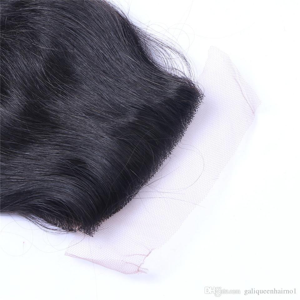 Brazilian Body Wave Middle Part Lace Top Closure Grade 6A Hair 4 * 4 BLEACHED KNOTS TOP CLOSURES Färgbara mänskliga hårförlängningar