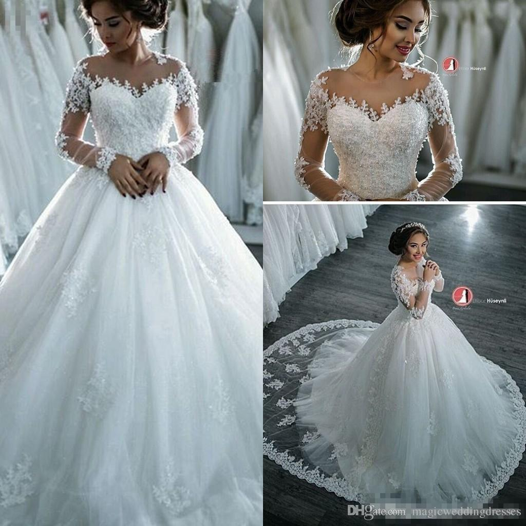 2016 Fall Winter Long Sleeves A Line Wedding Dresses Sheer Neck Lace ...