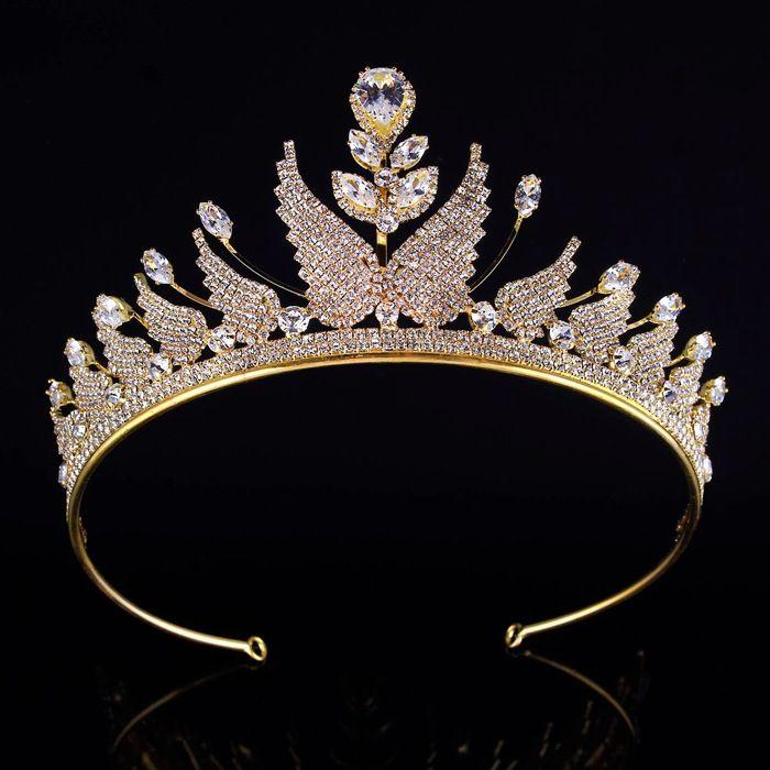 2 1/2 Inch Tall Prom Queen Gold Silver Tone Crystal Wings Hair Tiaras Headpiece Wedding Rhinestone Crown Bridal Hair Jewelry