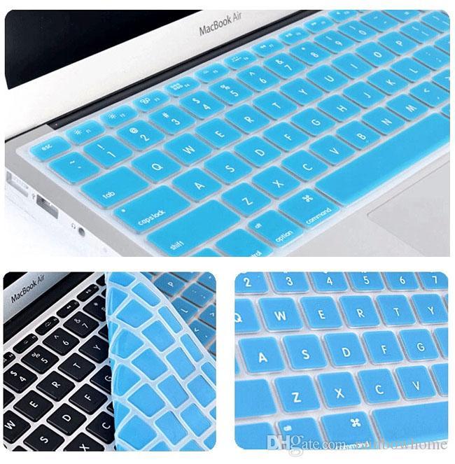 Laptop Silicone Macio Colorido KeyBoard Caso Capa Protetora Da Pele Para MacBook Pro Retina De Ar 11 12 13 15 17 caixa de varejo À Prova D 'Água À Prova de Poeira