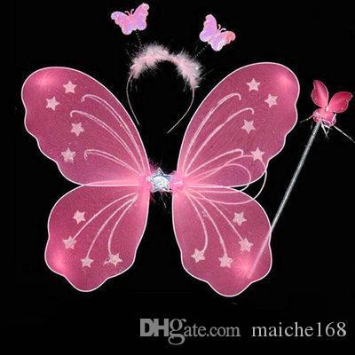 20 adet Küçük kız melek kelebek kanatları üç parçalı oyuncak çocuk performans kostüm sahne peri değnek sihirli bar