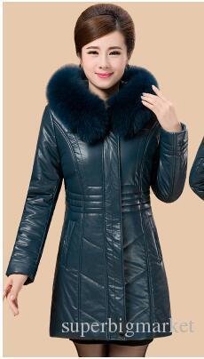 Vestes pour femmes Hiver Veste en cuir véritable en peau de mouton pour femmes Manteau Faux Fox Fur Hat Veste en cuir pour femmes A370